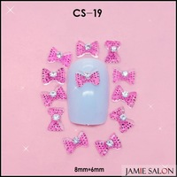 Free Shipping Shining Rhinestones Bowtie 3D Resin Nail Art Decoration Pink Nail Bowknot 100pcs/lot Size: 8*6mm #CS-19
