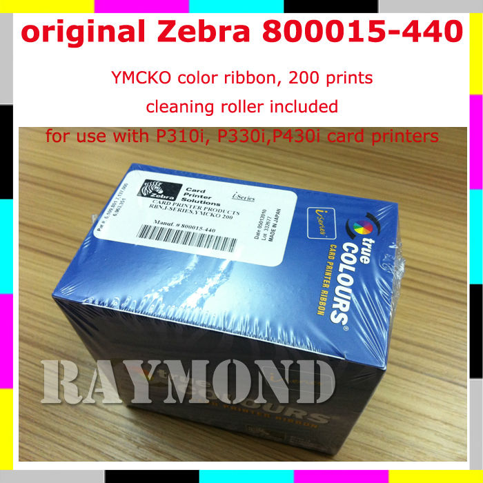 Zebra 800015-440 YMCKO 200 prints Color Ribbon for P330i printer(China (Mainland))