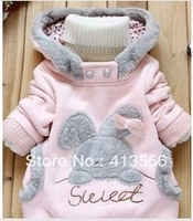 New 2013 Children's clothing  kids fashion Woolen jacket child Rabbit Pattern Cute Autumn and Winter Outerwear coats ok307