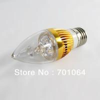 2pcs/lot E14 E27 B15 B22 Base LED Candle light LED bulb brightest 3x1W   AC85V-265V   (warm &cool light)