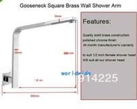 Gooseneck Square Brass Wall Mount Shower Arm W92332U  /freeshipping