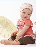 Free Shipping!cotton baby clothing set cute girl clothes set t-shirt+shorts+coif summer kid 2pcs suit Wholesale And Retail
