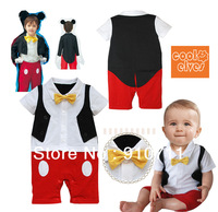 2013 Newest Minkey gentleman baby Yellow tie romper infant jumpsuit,Size 80-90-95,3pcs/lot Free Shipping
