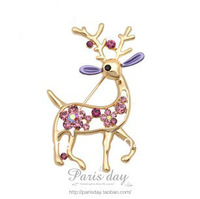New Arrival  Austrian crystal deer brooch High Qualit Crystal Jewelry Pin Brooch FB11-17 Free shipping