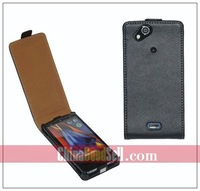 Real Leather Flip Cover Case For Sony Ericsson X12 Xperia Arc LT15i / Xperia Arc S  LT18i    + free shipping