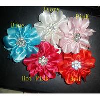 Free shipping 3 inch ruffle with Rhinestone satin hair flower Diy diamond flower hair accessories garments wedding decoration