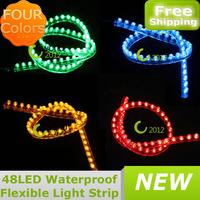 Free Shipping 48cm Fish Tank Flexible Light Strip Aquarium CAR Greet Wall  48 LED Light Lamp Strip 4Colors + DC12V Adapter