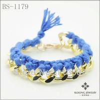 2013 Fashion Handmade Gold Chunky Chain Capri Blue Cotton Cord Bracele