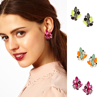 New Fashion girls spring summer huge simulated sparkling diamond earrings STUD/CLIP available /2.2*3.6cm/ 3colors free shipping