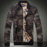 Free Shipping Fashion men's 2013 men's clothing jacket vintage spring outerwear stand collar slim thin casual print