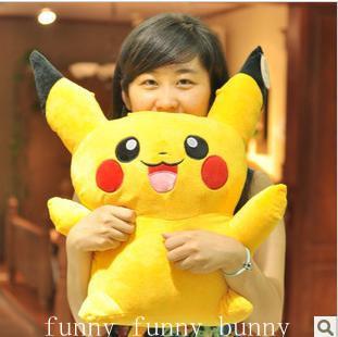 1pcs 40cm cute big size yellow stuffed pikachu pokemon plush toy soft doll for girls boys birthday gift