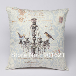 Free shipping Cotton Novelty Pendant Lamp Ceiling Lamp Chandelier Bird Pattern Cushion Cover Home Decorative Throw Pillow Case(China (Mainland))