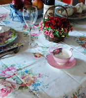Chinese romantic 100% cotton table cloth tablecloth pink rose
