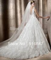 2015 New Style White/Ivory Lace Long A-Line Tank V-neck Sleeveless Beaded Bridal Gown Wedding Dresses Custom Size Free Shipping