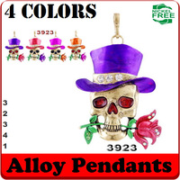 Alloy Pendants Rhinestone Skull Necklace Pendants Men & Women Flower Jewelry Findings 4 Colors 12pcs/Lot#32341