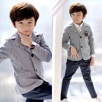 Free shipping   wholesale(5pieces/lot) - 2013 spring child  blue&white stripe blazer