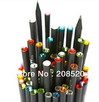 AD074 free shipping wholesale (72pcs/lot) high grade HB lead black wood pencil/crystal diamond