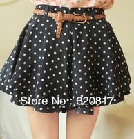 2013 New Summer Fashion Korean Women Chiffon Skirt Pants Wave Point Short Skirts Ladies Pantskirt With Belt 3920 Free shipping