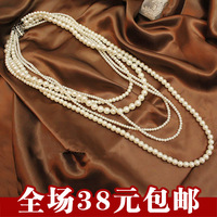 All-match multi-layer pearl necklace fashion vintage accessories fashion multi-layer long necklace design