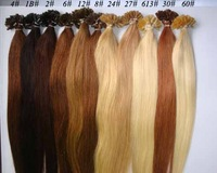 100S Pre Glue Bond U Nail Tip Keratin Straight Human Hair Extensions Color 8#  total 11colors  wholesale discount/Free Shipping