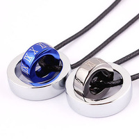 Blue black titanium male women's roman numerals lovers pendant necklace
