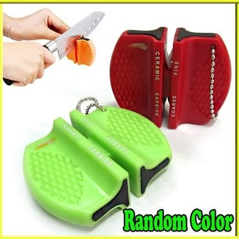 Mini Ceramic Carbide Knife Sharpener Kitchen Blade Pocket Knives Sharpening Tool  000123