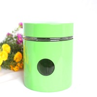 Green round hole storage tank sealed cans glass tea caddy candy jar snack cans dried fruit