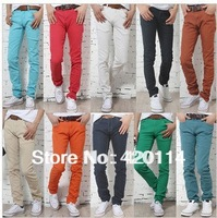 Free delivery Cattle 28 2013 male candy pants multi-colored pencil pants male elastic jeans skinny pants male