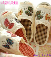 Butterfly rustic floor shoes ,cloth-soled  home shoes, women's soft outsole cloth slippers