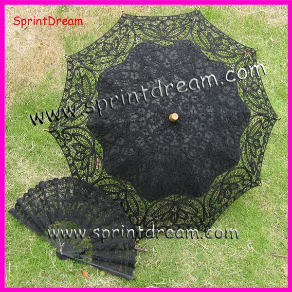 ( 1 jogo ) Frete Grátis! 100% algodão artesanato guarda-sol , guarda-chuva de algodão , battenburg rendas guarda-chuva com ventilador de algodão(China (Mainland))