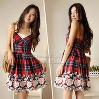 Free shipping 100% cotton plaid embroidered spaghetti strap one-piece dress short skirts slim formal bohemia