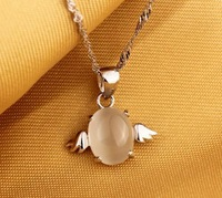 Wholesale (30pcs/Lot) Fine Workmanship High Polished Products 925 Silver Angel Egg Pendant Necklaces Free Shipping