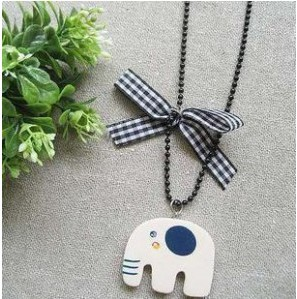 Min.order is $8 (mix order) Free Shipping & Wholesale Korean Pop Jewelry Wooden Elephant Bow Necklace XY-N32