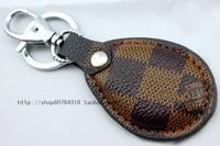 Plaid car classic keychain key ring keychain key chain male leather buckle on the waist