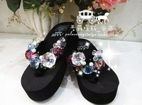 Free shipping Multicolour big crystal gem handmade flip flops amii high-heeled wedges platform sandals
