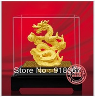 YZ-R074 Free shipping gold craft/24K gold craft/art gift/ China feng shui  prosperous dragon with dragon ball figurine