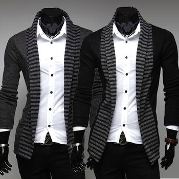 2013 new arrived,Fashion fringe color men's casual Long Knit Cardigan,2 color 4 size