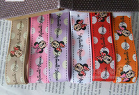 "Free Shipping 100 yards 3/8"" 9mm Minnie Mouse Printed grosgrain ribbon hairbow wholesales-6 Colors for choose ym"
