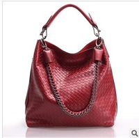 Top Quality sexy ol fashion brief knitted embossed women's handbag large capacity bag genuine leather one shoulder handbag 0096