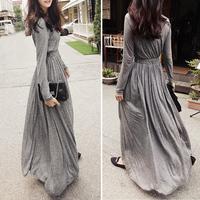 Full dress mopping the floor fashion slim elastic waist slim maxi dress one-piece dress