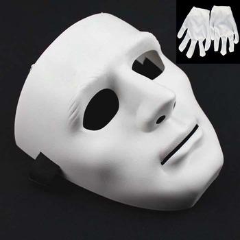 hot good quality masks jabbawockeez dance group demons step dance hip-hop white performances mask (have white gloves)