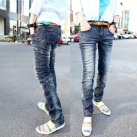 2013 men's clothing male finishing whisker vintage retro blue slim jeans trousers skinny pants