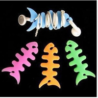 2013 Cool earphones dollarfish fish bone take-up device earphones cable winder set bar multicolor