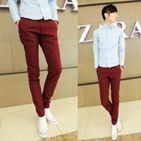 2013 male fashion casual pants slim elegant red men's clothing skinny pants long trousers