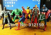 "NEW The Avengers 5"" ( 14cm) Captain America Wolverine Thor Spiderman Batman Action Figures Toy 6 pcs/set free shipping"