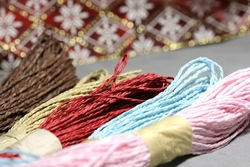 24meters/pack,blue red pink brown kraft paper rope, Grosgrain Gift Bow,Gift Packaging Ribbon(China (Mainland))