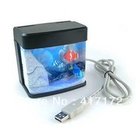 Free Shipping Wholesale And Retail Cheap And High-quality USB Mini Aquarium/USB MINI Fish Tank with Colorful Light #SR2052