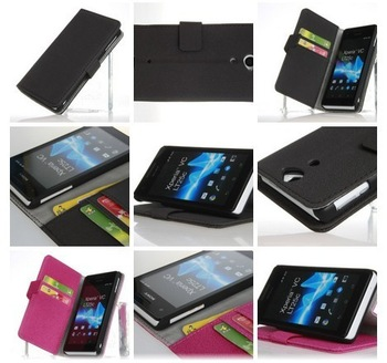 PU Leather Case for Sony Ericsson Xperia L36h C6603, Flip Holster Leather Pouch Cover Case,Luxury L36H case 1pcs free shipping