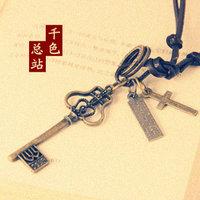 (Min order $10USD)Cutout key pendant cross leather necklace male Women fashion vintage long necklace