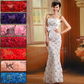 Bridal 2013 evening dress evening dress lace flower long design fish tail formal dress costume red(China (Mainland))
